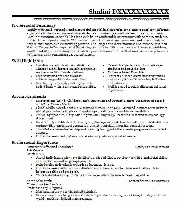 14032 Psychology Resume Examples Psychology Resumes LiveCareer - psychology resume