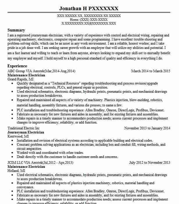 Maintenance Electrician Resume Sample LiveCareer