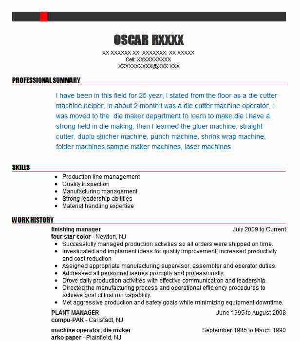 Finishing Manager Resume Sample Manager Resumes LiveCareer