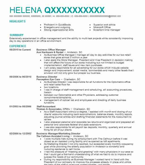 Business Office Manager Resume Sample Manager Resumes LiveCareer