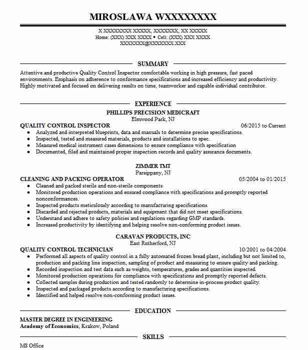 quality control inspector resume objective