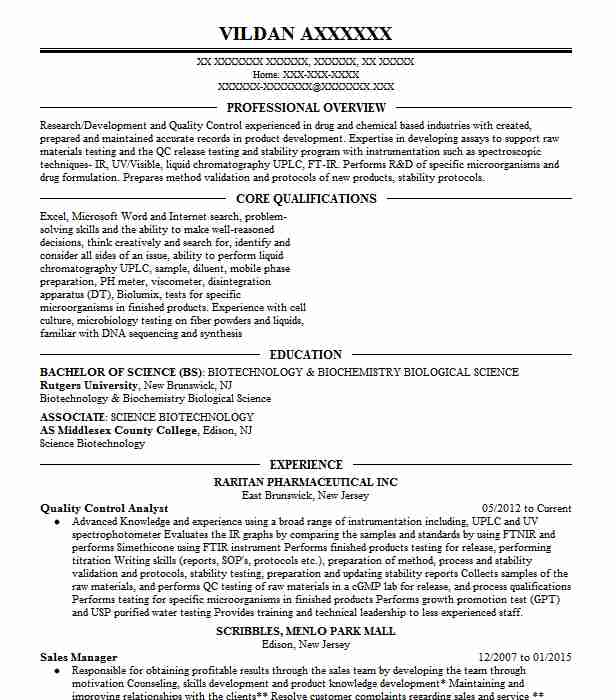 Quality Control Analyst Resume Sample Analyst Resumes LiveCareer
