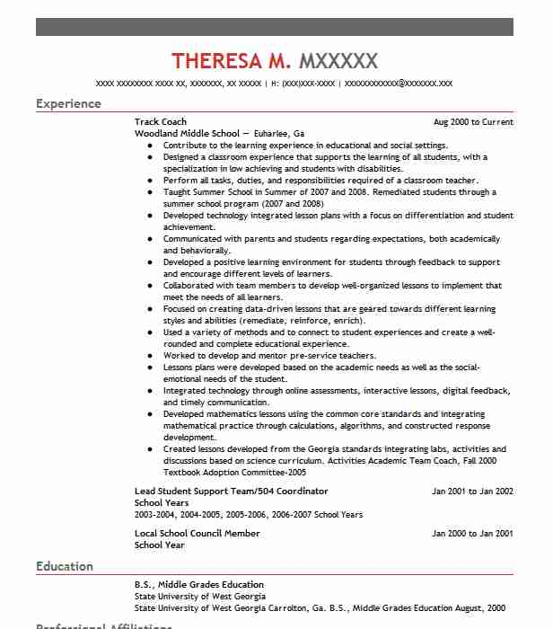 Track Coach Resume Sample Resumes Misc LiveCareer