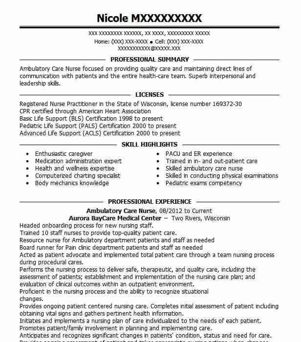 Ambulatory Care Nurse Resume Sample Nursing Resumes LiveCareer