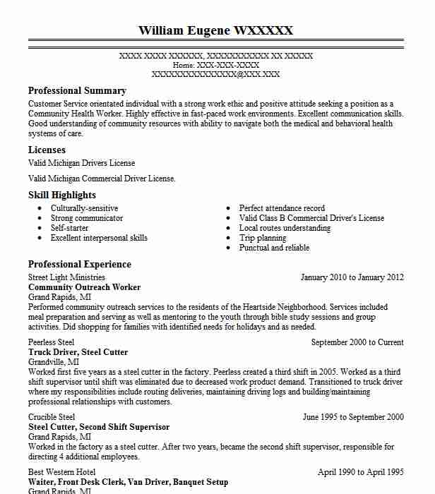 Community Outreach Worker Resume Sample Worker Resumes LiveCareer