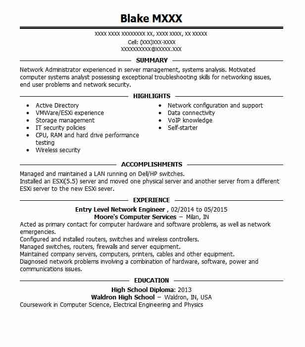 Entry Level Network Engineer Resume Sample LiveCareer