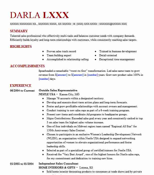 outside sales rep resume examples