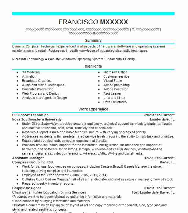 It Support Technician Resume Sample Technician Resumes LiveCareer
