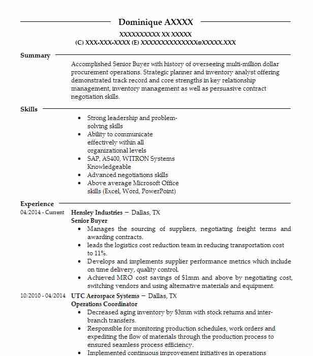 Materials Purchasing  Logistics Coordinator Resume Example (Netjets