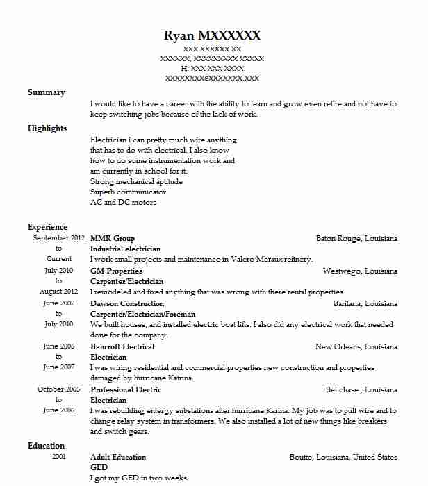 Industrial Electrician Resume Sample Resumes Misc LiveCareer