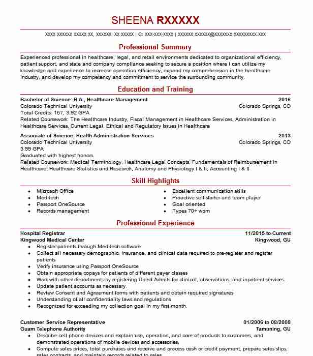 Hospital Registrar Resume Sample Registrar Resumes LiveCareer