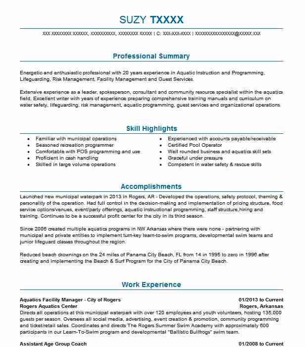 10 Amusement Parks (Fitness And Recreation) Resume Examples in - recreation programmer sample resume