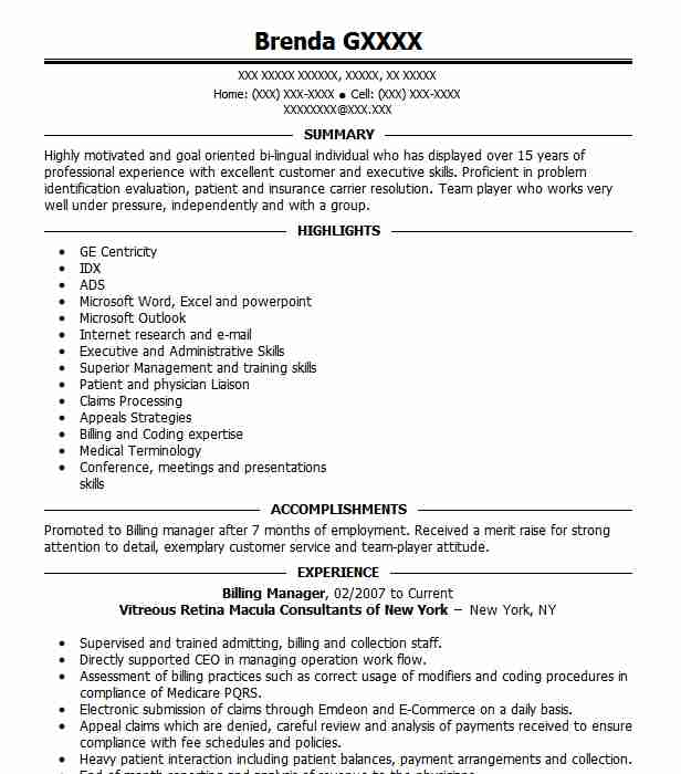 Billing Manager Resume Sample Accountant Resumes LiveCareer