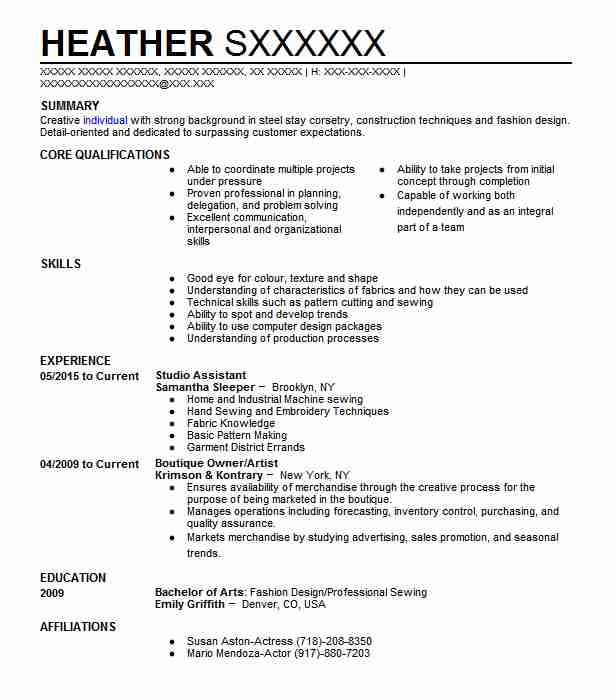 Studio Assistant Resume Sample Assistant Resumes LiveCareer