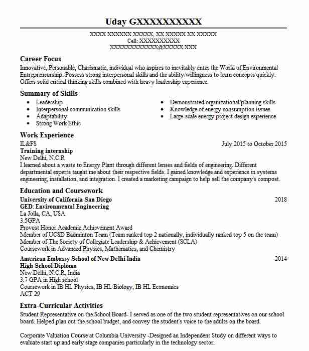 objective in cv for internship example