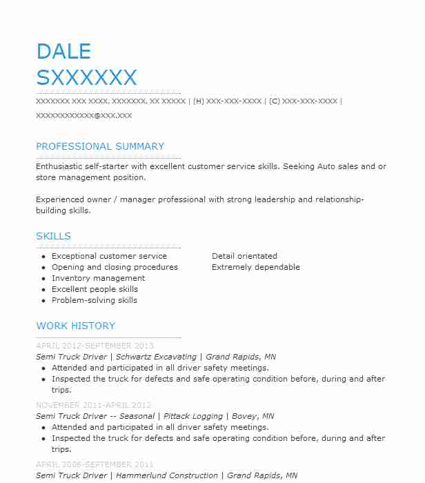 Semi Truck Driver Resume Sample Driver Resumes LiveCareer - heavy truck driver resume