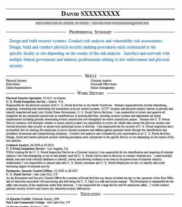 Physical Security Specialist Resume Sample LiveCareer