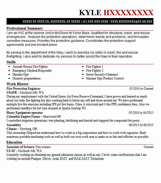 Fire Protection Engineer Resume Sample LiveCareer