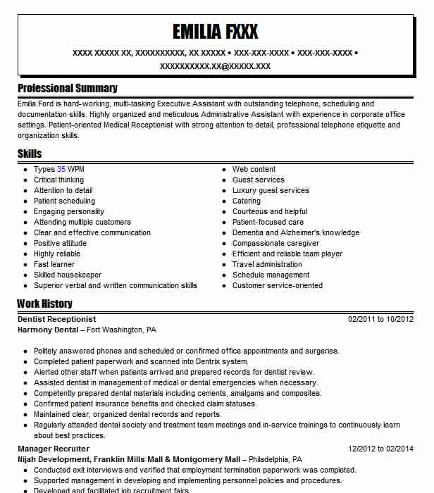Dentist Receptionist Resume Sample Receptionist Resumes LiveCareer - Resume For Dental Receptionist