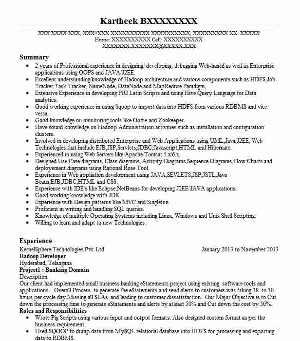 Hadoop Developer Resume Sample It Resumes LiveCareer