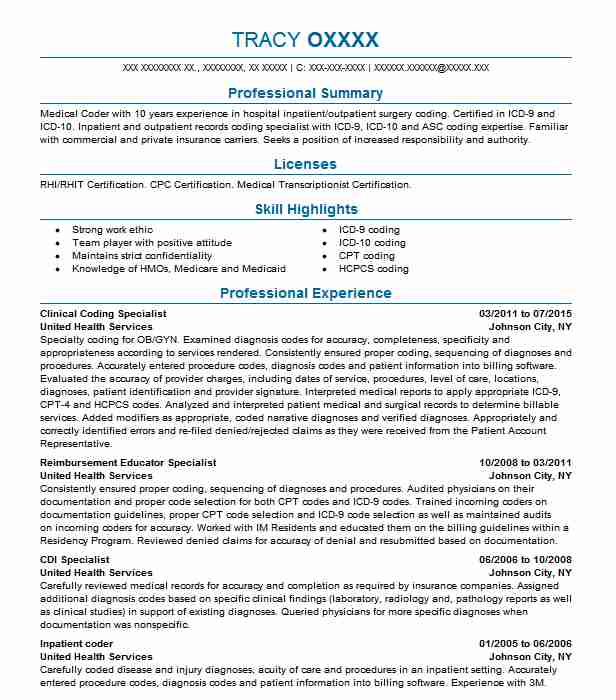 Clinical Coding Specialist Resume Sample LiveCareer