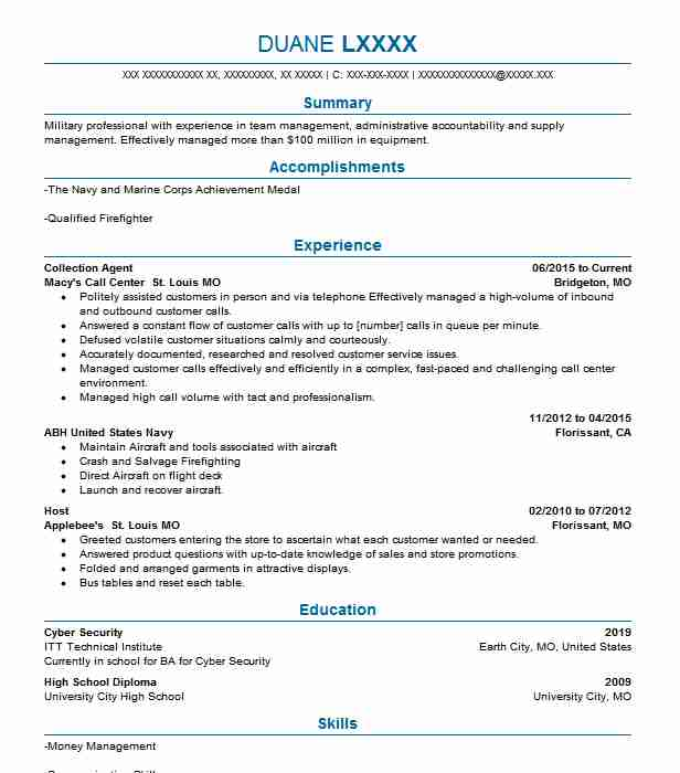 Collection Agent Resume Sample Agent Resumes LiveCareer