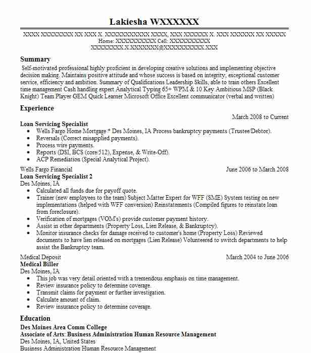 Loan Servicing Specialist Resume Sample LiveCareer