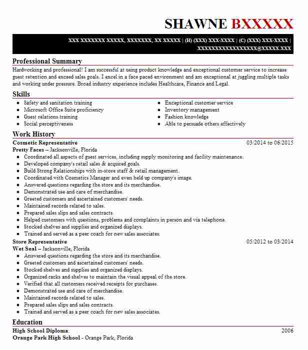 Cosmetic Representative Resume Sample LiveCareer