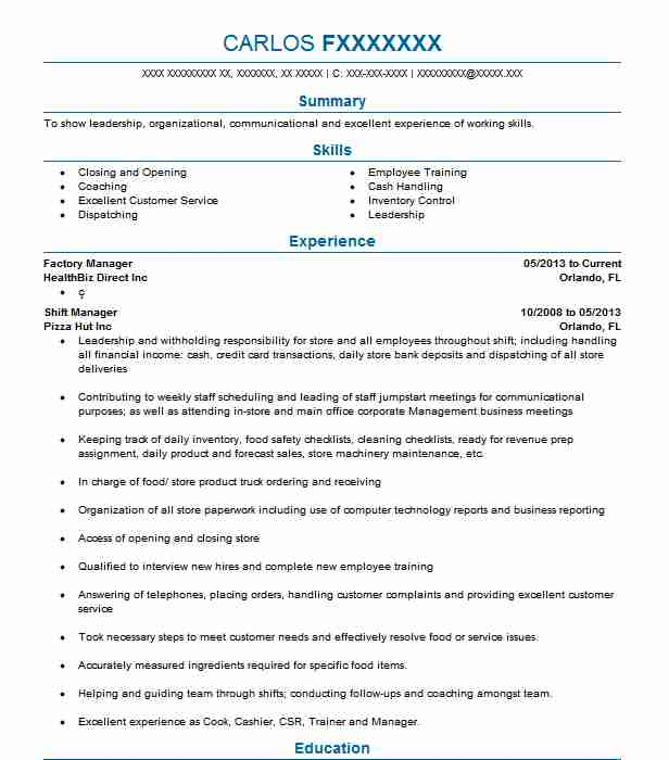 Factory Manager Resume Sample Manager Resumes LiveCareer
