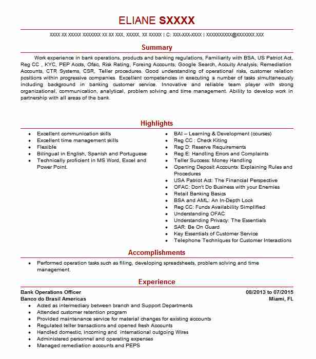 Bank Operations Officer Resume Sample Officer Resumes LiveCareer - operating officer sample resume