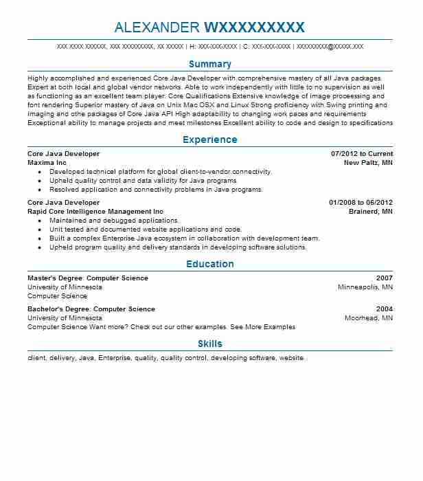 Core Java Developer Resume Sample Developer Resumes LiveCareer