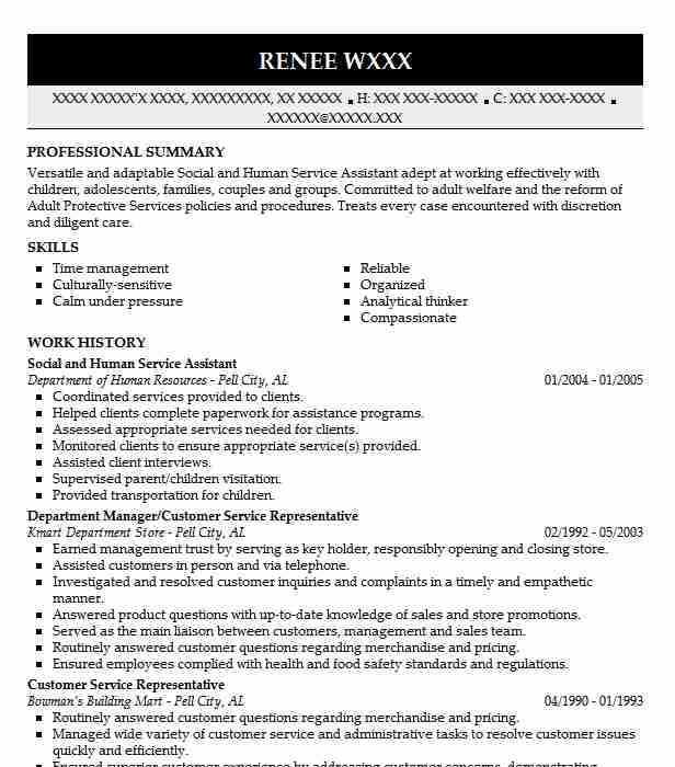Social And Human Service Assistant Resume Sample LiveCareer
