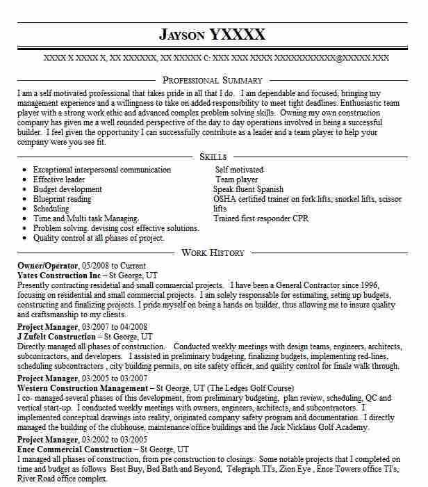 97 Construction Management Resume Examples Management Resumes - management resumes