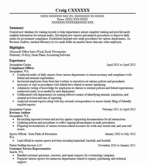 Compliance Officer Resume Sample Officer Resumes LiveCareer