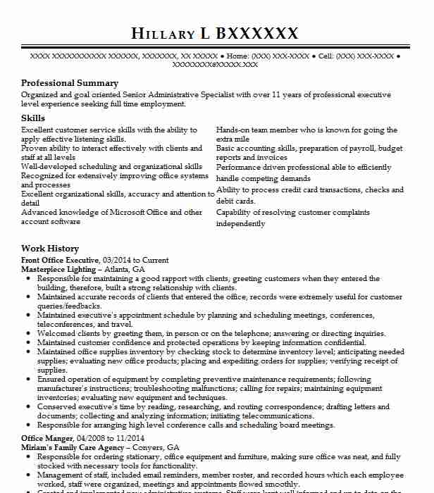 Front Office Executive Resume Sample Executive Resumes LiveCareer