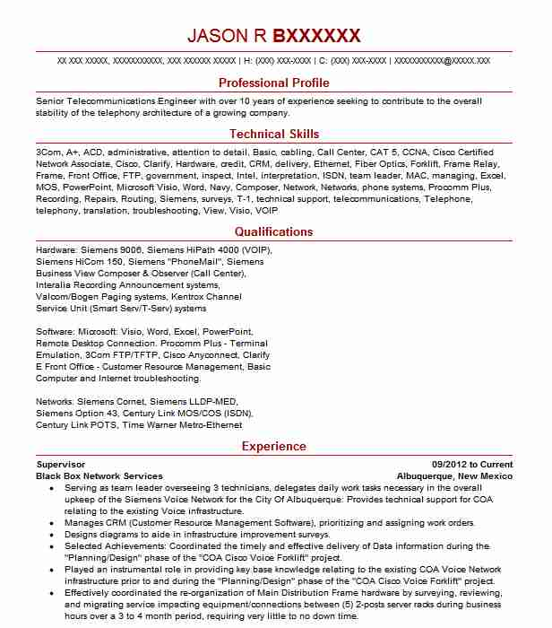 10 Telecommunications Engineers Resume Examples in New Mexico - siemens service engineer sample resume