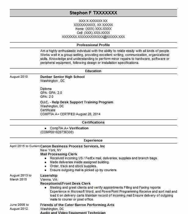 Mail Processing Clerk Resume Sample Resumes Misc LiveCareer
