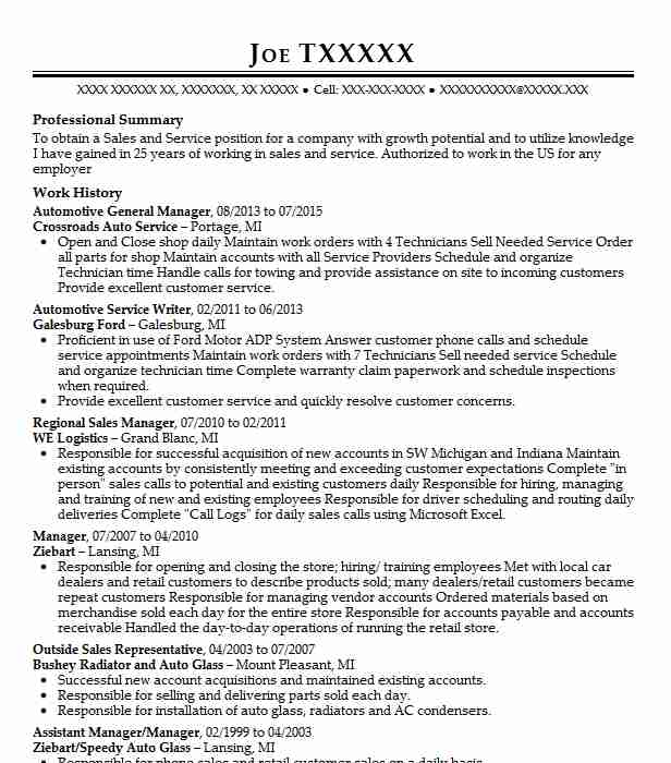 Automotive General Manager Resume Sample LiveCareer