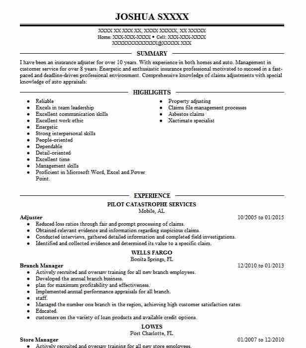 Eye-Grabbing Adjuster Resume Samples LiveCareer