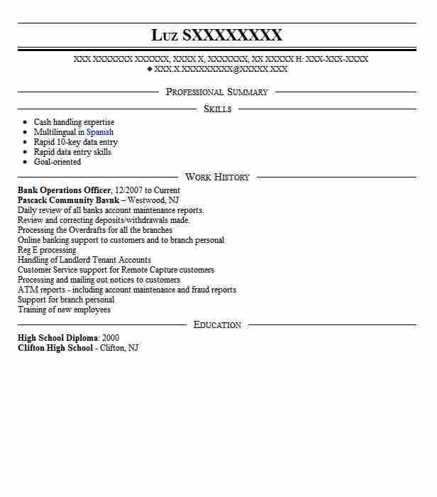 Bank Operations Officer Resume Sample Officer Resumes LiveCareer
