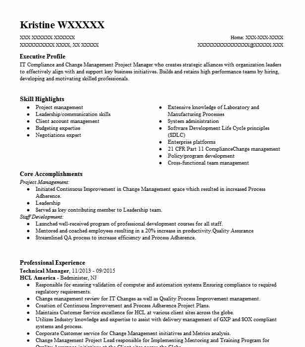 Technical Manager Resume Sample Technical Resumes LiveCareer