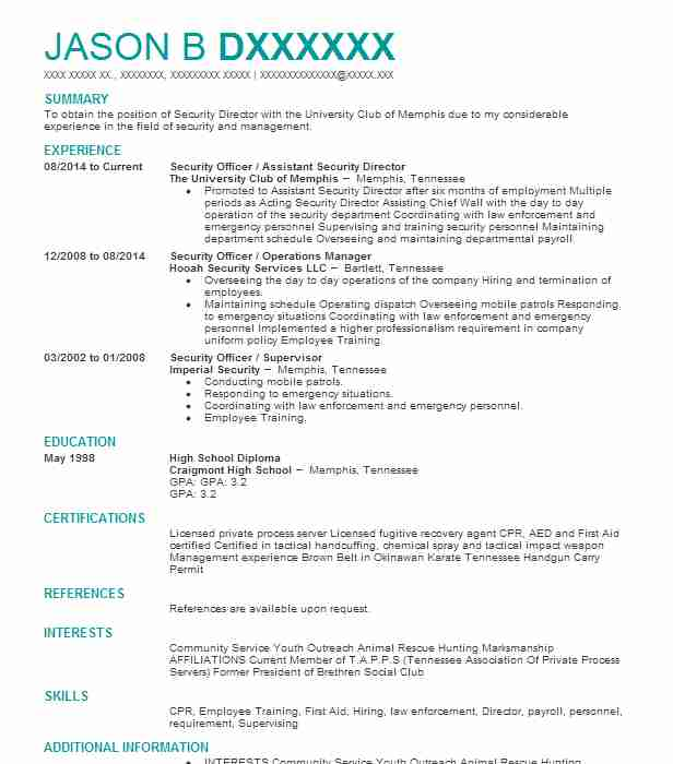 327 Security Management (Law Enforcement And Security) Resume