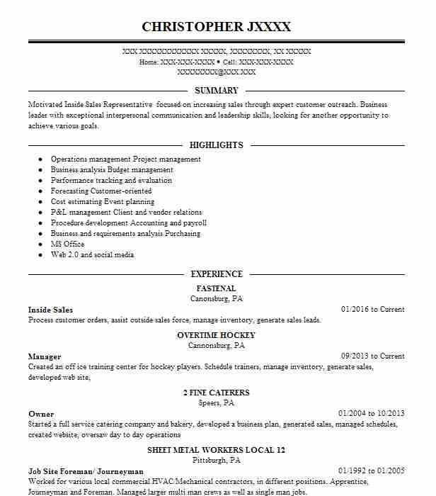 Best Inside Sales Resume Example LiveCareer - Inside Sales Resume