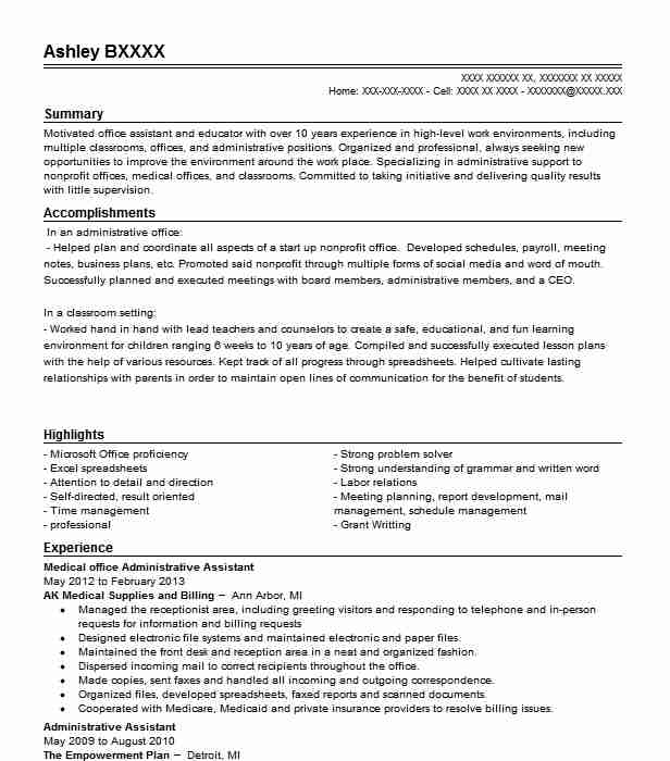 Medical Office Administrative Assistant Resume Sample LiveCareer