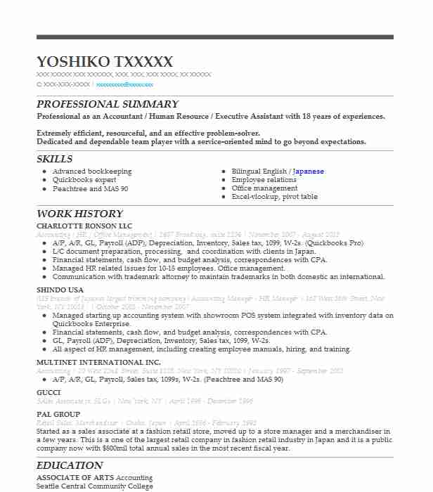 6 Accountants Resume Examples Management Resumes LiveCareer - trademark attorney resume