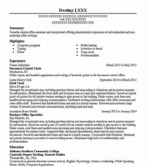 Document Control Clerk Resume Sample Clerk Resumes LiveCareer