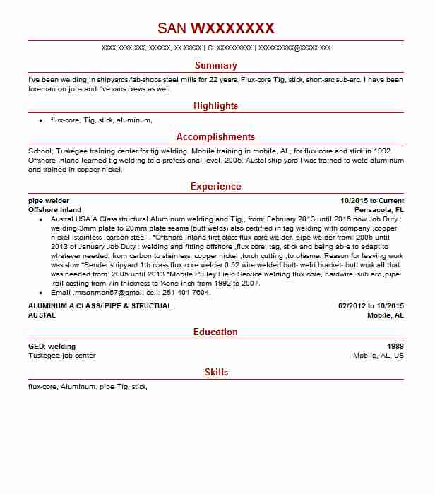Pipe Welder Resume Sample Welder Resumes LiveCareer
