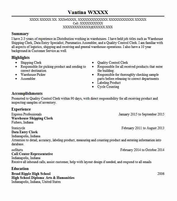Warehouse Shipping Clerk Resume Sample Clerk Resumes LiveCareer