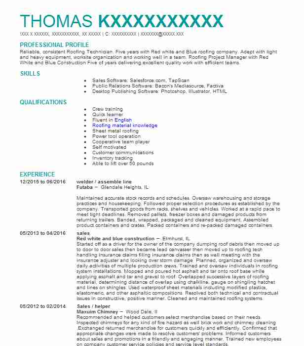 roofing resume samples - Onwebioinnovate
