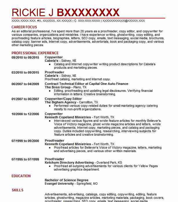 Best Copywriter Resume Example LiveCareer